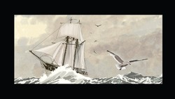 Old sailing ship on a rough sea - vector illustration