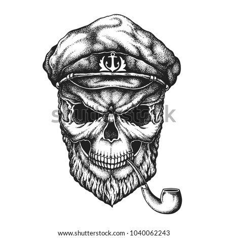 old sailor bearded skull in