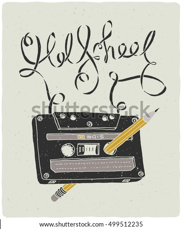 old school audio cassette with