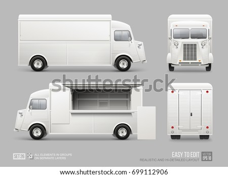 Old school Food Truck - Mockup set isolated on grey. Realistic Fast-food Van template for Mockup Branding and corporate identity design on transport. White blank Delivery Truck