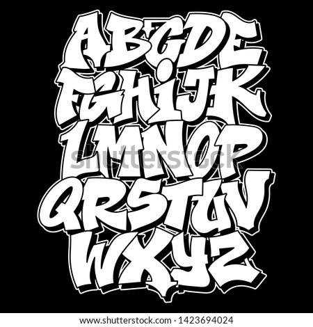 Old school Graffiti alphabet decorative lettering vandal street art free wild style on the wall city urban illegal action by using aerosol spray paint. Underground hip hop type vector illustration.