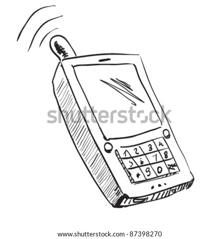 Old school mobile phone icon. Hand drawing cartoon sketch illustration in childish doodle style