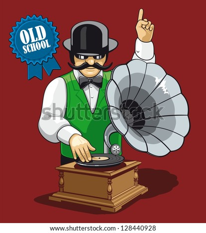 Old school music. Humorous illustration of the modern DJ with equipment and clothing in the early twentieth century.