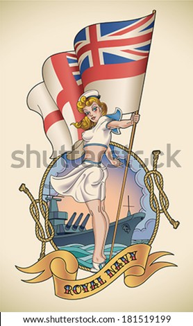 Old-school navy tattoo of a pin-up lady with the Royal Navy flag in her hand Editable vector illustration