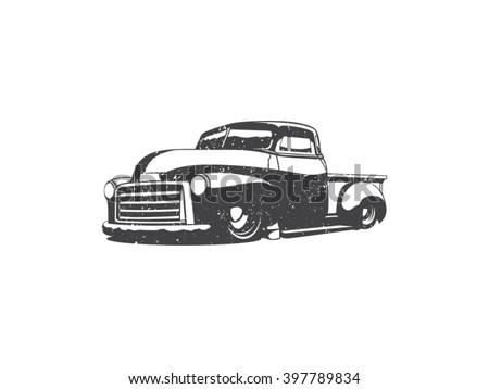 Old school one color pick up truck vector art