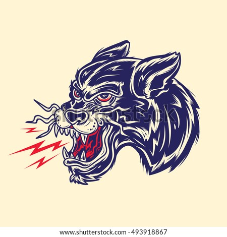 Old School Panther Head Tattoo Illustration