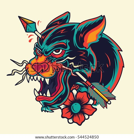 Old School Panther Head with arrows Tattoo Illustration