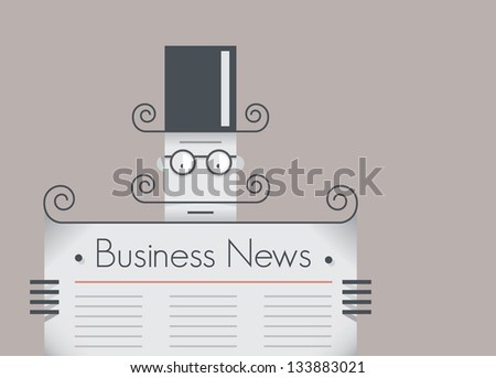 Old school retro businessman with mustache reading business news newspaper. Vintage style illustration. With copy space for your business text.