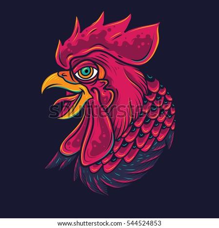 Old School Rooster Head Tattoo Illustration
