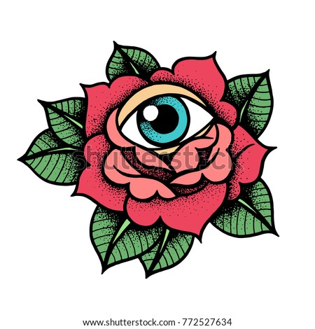 Old school rose tattoo with eye. Traditional black dot style and color ink. Isolated vector illustration. Traditional Tattoo Flowers Set Old School Tattooing Style Ink Roses