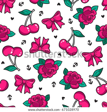 Old school seamless pattern with rose, cherry, bow and other elements. Vector background with fashion patches and pins in trendy rockabilly tattoo style.
