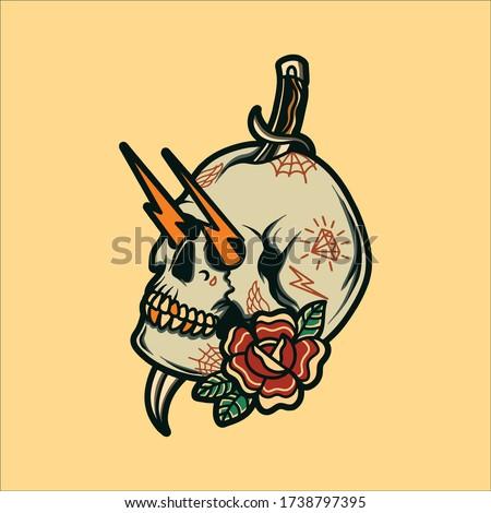 old school skull tattoo vector design