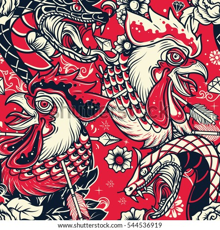 Old School Snake and Rooster Head Tattoo seamless Pattern