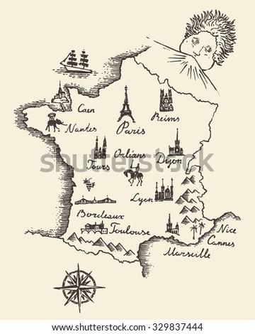 Old school style map of France, vintage retro design, engraved vector illustration, sketch #329837444