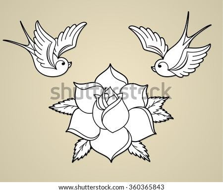Old-school styled tattoo outline with swallows and rose. Set of old school tattoo elements (swallow/sparrow birds and a rose). Tattoo swallow birds and tattoo rose flower outline vector.