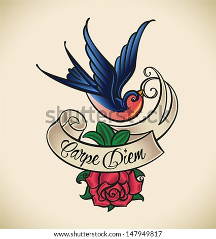 Old-school styled tattoo with a swallow banner and rose Editable vector illustration