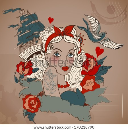 Old-school styled tattoo woman with bird and ship, Valentine illustration for Holiday design, VECTOR