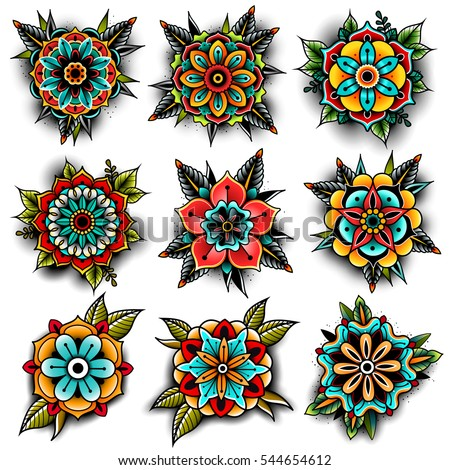 Old school tattoo art flowers for design and decoration. Vector illustration