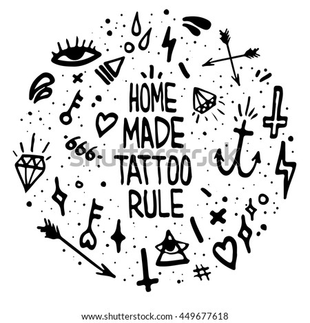 "Old school tattoo elements. ""Home made tattoo rule"" . t-shirt print."