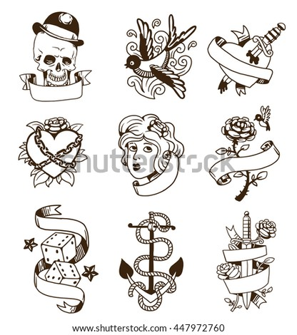 old school tattoo elements