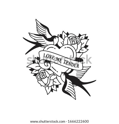 Old school tattoo emblem label with swallow rose heart symbols and wording love me tender. Traditional tattooing style ink. Isolated vector.