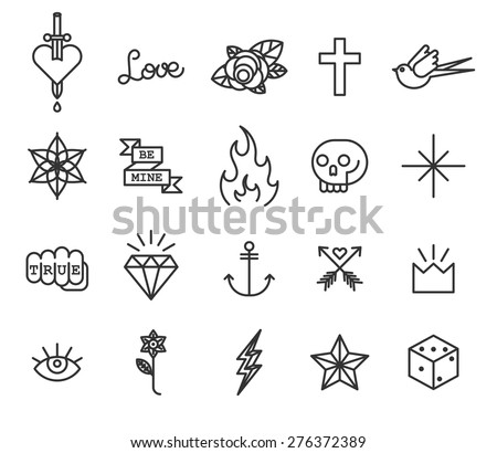 old school tattoo icon set