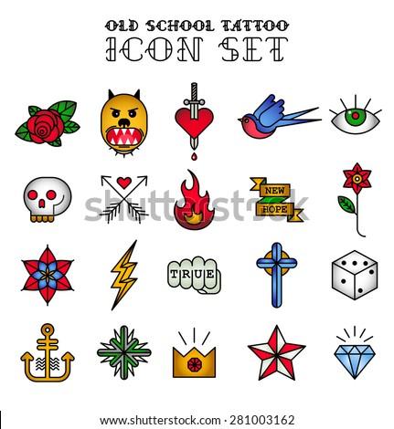old school tattoo icon set