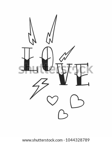 Old school tattoo Love design with hearts and lightnings. Vector line illustration.