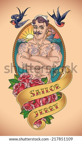 old school tattoo of a handsome
