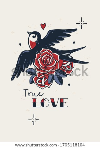 Old school tattoo poster. Love greeting card with swallow, roses, heart, leaves in retro style. True love. Sailor american traditional tattoo romantic hipster poster. Lovely wall art with flying bird