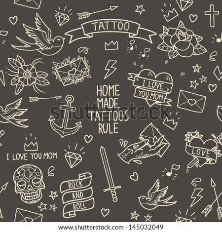 Old school tattoo seamless pattern Cartoon tattoo elements in funny style anchor dagger skull flower star heart diamond scull and swallow