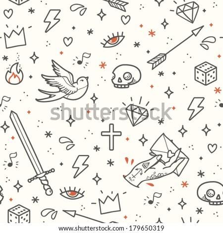 Stockshutter Old School Tattoo Seamless Pattern Cartoon Vector