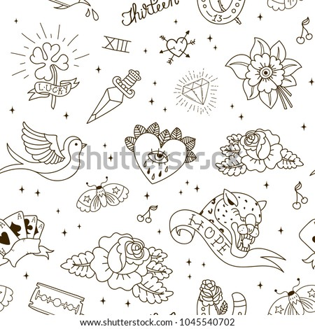 Old school tattoo seamless pattern. Tattoo Collection: dagger, flower, star, clover, leopard, blade, heart, diamond, swallow, star, horseshoe. Vector illustration.