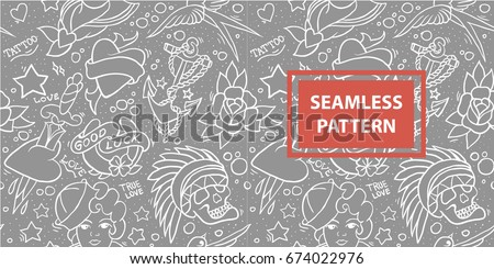 Old school tattoo seamless pattern vector.