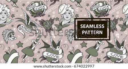 Old school tattoo seamless pattern vector.