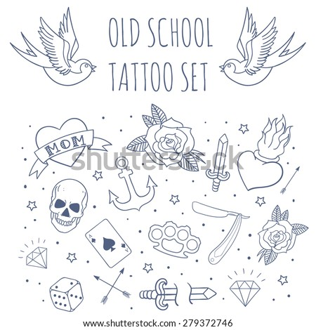 Old school tattoo set. Cartoon vector tattoo doodle elements: anchor, dagger, skull, flower, star, heart, diamond, swallow, star, brass knuckles . Light background