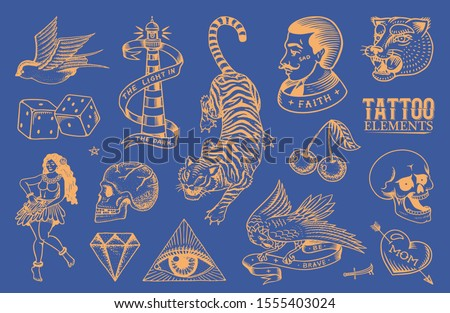 Old school Tattoo stickers set. Hawaiian hula dancer woman, hipster man, lighthouse, panther, skull and snake. Engraved hand drawn vintage retro neon sketch for notebook or logo.