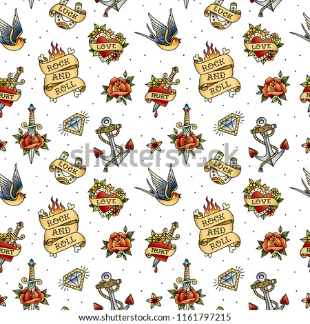 Old school tattoo vintage pattern on white background. Rock symbols and objects set of swallow, anchor, heart, rose. Rockabilly tattoo background for print fabric and wrapping paper