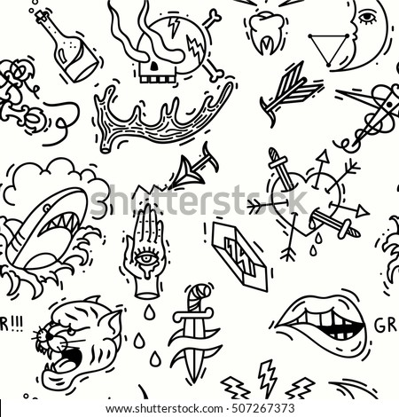Old school tattoos seamless pattern. Hand drawn vector background.