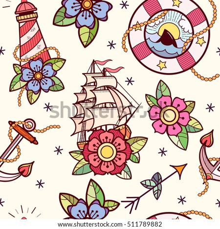 Old school tattoos seamless pattern with lifebuoy, lighthouse, ship, rope,  flowers, arrows and anchor. Tradition tattoo ink design.