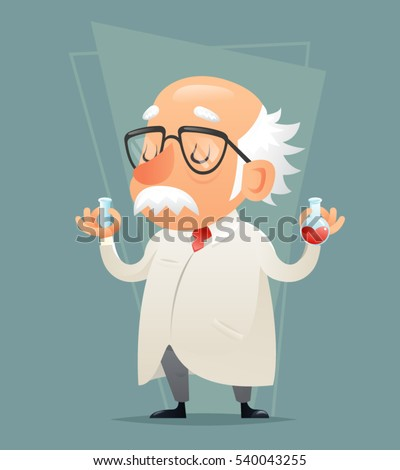 Old Scientist Test-tube Icon Retro Cartoon Design Mobile game Vector Illustration