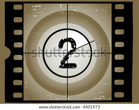 Old Scratched Film Countdown at No 2 - stock vector