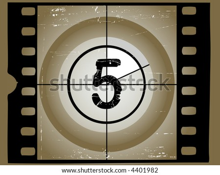 Old Scratched Film Countdown at No 45 - stock vector