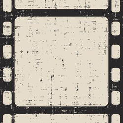 Old scratched film frame background. Grunge film strip.