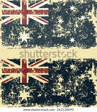 Old scratched flag. Vector illustration of vintage Australian flag