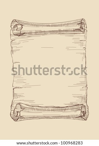 old scroll drawing vector illustration