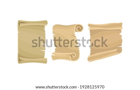 Old Scroll or Curved Manuscript as Paper Document and Historic Chronicle Vector Set Сток-фото ©