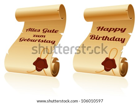 Old Scroll Paper with Sealing Wax and Happy Birthday, template for design