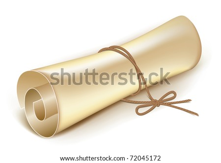 old scroll tied with a rope on the bow vector