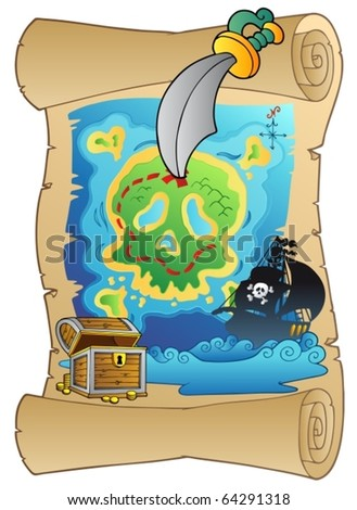 Old scroll with pirate map - vector illustration.